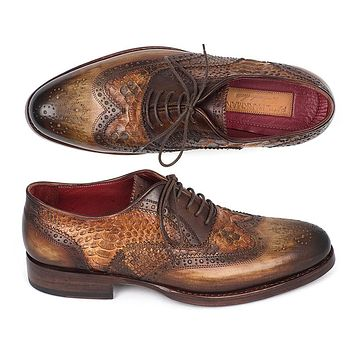 Paul Parkman Goodyear Welted Camel Genuine Python & Brown Calfskin Wingtip Oxfords Shoes (ID#27PT-CMLBRW)