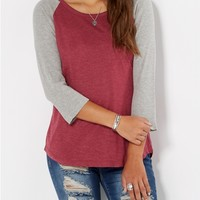 Burgundy & Gray Thermal Baseball Tee