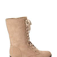 FOREVER 21 Faux Suede Lace-Up Boots Cream