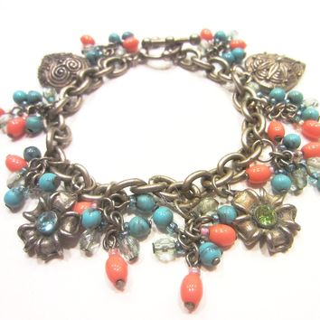 Charm Bohemian Link Bracelet Hearts Blue Flowers Coral Bead Cluster