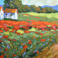 Field with poppies near the vilage - Oil on canvas Painting by Dmitry Spiros. wall decor, home decor, poppy painting, living room decor art