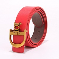 DIOR Fashion Women Chic Metal Buckle Multicolor Leather Belt Red