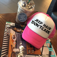 Jeep Hair Dont Care Hats Flawless Hats Funny Hats Hipster Hats Trucker Hat