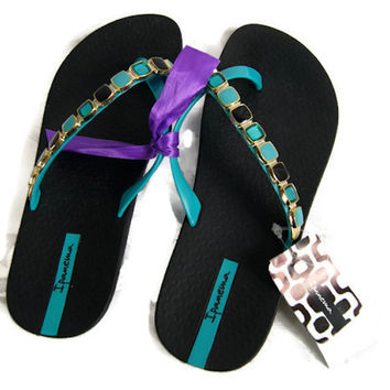 Ipanema Embellished Women's Slippers Size 5 Flip Flop