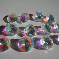 12 Iridescent Chandelier Crystal Beads Crystal AB Shabby Cottage Chic Aurora Borealis Crystal Prisms 14mm