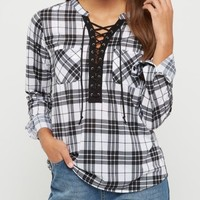 Black & White Plaid Lace Up Shirt
