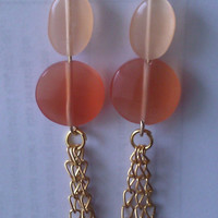 Elegant Boho Peach Jewel Earrings by allthingswildandfree on Etsy