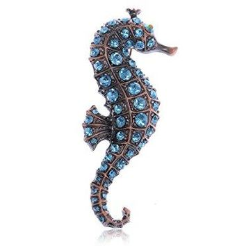 Alilang Copper Tone Light Blue Rhinestones Nautical Ocean Seahorse Brooch Pin