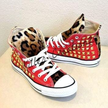 CREYUG7 Custom studded Converse Chuck Taylors with faux by KillerCreationz