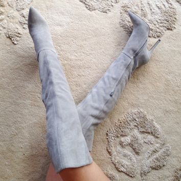 Elva Gray Suede Over The Knee Boots