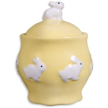 Yellow Covered Sugar Bowl with Bunny Decoration