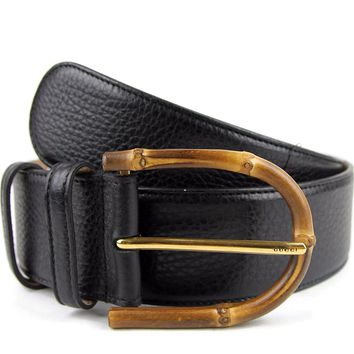 Gucci Women's Black Leather Bamboo Buckle Wide Belt 322955 1000 (95 / 38)