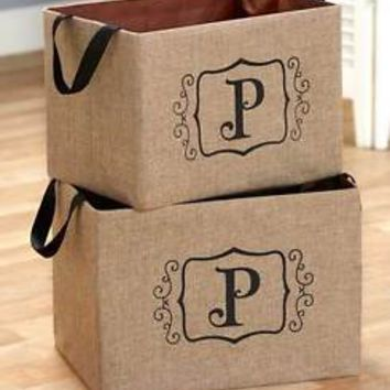 "Set of 2 Burlap Monogram Letter ""P"" Storage Oraganizer Bins Kid's Toys Books"