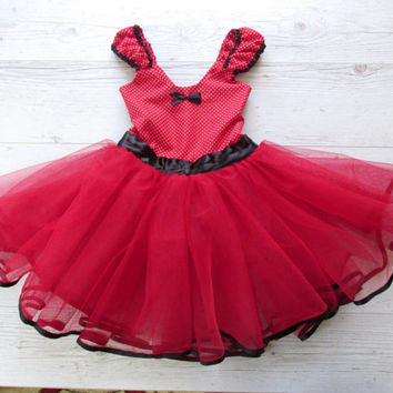 Red Flower Girl Dress, Minnie Mouse Tutu Dress, Little Red Riding Hood Tutu Dress, Party Dress