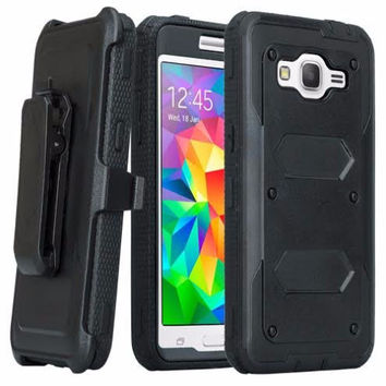 Galaxy On5 Case, 3-in-1 Shockproof Armor [Built in Screen Protector] Heavy Duty Holster Shell Combo Case for Samsung Galaxy On5 - Black