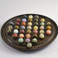 "Natural Stone Solitaire Board Game - Semi Precious Stone Pee Wee Size Marbles on Hardwood Rare 5 3/4"" Board Madagascar -The Nature Company"