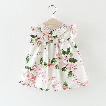 Summer Baby Girls Vintage Floral Print Short Sleeve Princess Party Kids Dress Infant Birthday Dresses vestido infantil