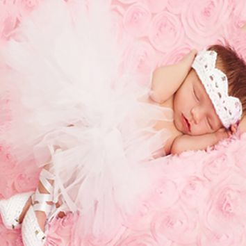 Newborn Baby tutu, crown and shoes Photo Prop - CCT101