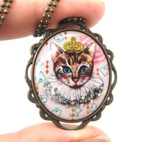 Princess Kitty Royal Cat Shaped Illustrated Oval Pendant Necklace | DOTOLY