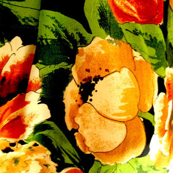Adrienne Vittadini Silk Scarf Vintage Designer Floral Oblong Orange Poppy Signed Rust Green Orange Fall Colors