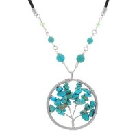 MJartoria Turquoise Chips Bead Wired Circle Tree of Life Charm Pendant Healing For Reiki Leather Necklace
