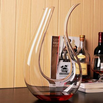 1 Pcs Big capacity U-shaped Glass Decanter Large Crystal Wine Decanter Set Lead-Free Red Wine Decanter 1500ml Drinking Bottle