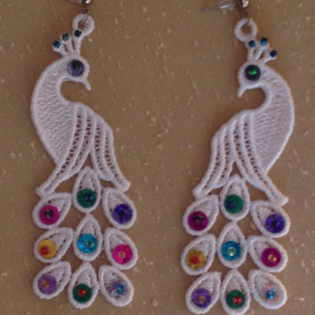 Lace earrings White lace earrings Sequin earrings Gift for her Peacock earrings Lace peacock earrings Sequin jewelry