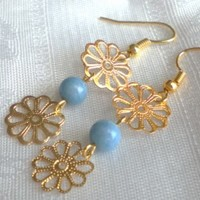 Golden flower, blue bead dangle earrings, small earrings, summer earrings,
