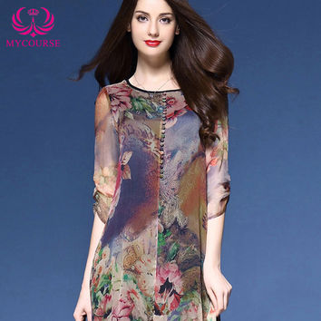 MYCOURSE Dress Floral Print Asymmetric Midi Silk Dress for Women New Fashion Vintage Half Sleeve Loose Summer Dresses Vestidos
