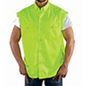 Mens Motorcycle Biker Shirt Fluorescent Yellow Cut Off Sleeveless Cotton Denim Button up