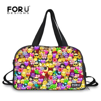 FORUDESIGNS Luggage Bag Women Travel Bag Emoji Duffel Large Capacity Female Travel Duffle Bag Tote Canvas Weekend Bags Handbag
