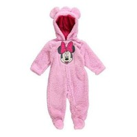Disney Disney Minnie Mouse Infant Girls Plush Pink Faux Shearling Snowsuit Baby Pram