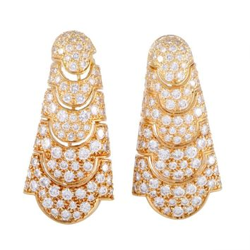 Cartier Full Diamond Pave Vintage Yellow Gold Drop Earrings