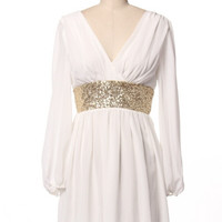 Long Sleeve Sequin Band Dress - White