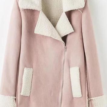 Pink Pockets Long Sleeve Suede Trench Coat