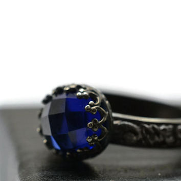 Dark Blue Sapphire Ring, Gemstone Engagement Ring, Oxidized Silver, Floral Ring