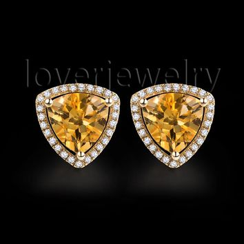 14KT Yellow Gold Natural Citrine Diamond Earrings Fashion Jewelry