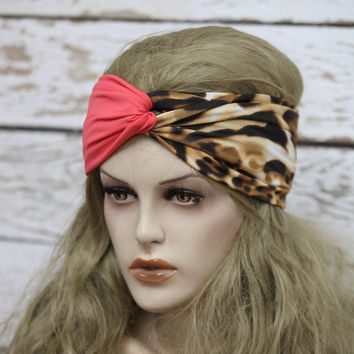 leopard print Turban stretchy headband yoga headband ear warmer womens head wrap girly  twisted headband,Cute Hair Bands,jersey headband