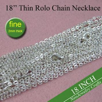 18 inch Shiny Silver Rolo Chain Necklaces  45cm Vintage Chain Necklace, Metal Fine Chain 2mm Thick