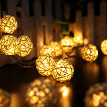 Fashion 20pcs LED Rattan String Ball Lantern Lights Thanksgiving Christmas Wedding Party Decoration