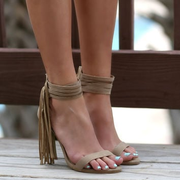 The Renegade Beige Strappy Ankle Fringe from Amazing Lace