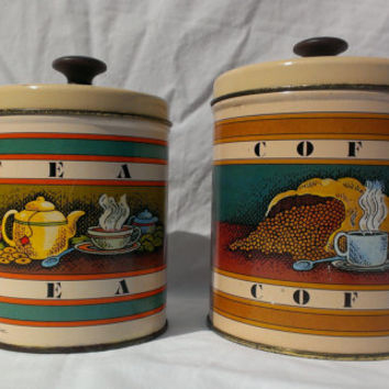 1970s Ballonoff Coffee Tea Canister Set Painted Metal Tin Nesting Dry Storage Container Rustic Retro Kitchen Decor Collectible Made in USA