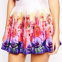 Wolf & Whistle Pleated Mini Skirt In Ombre Floral Print