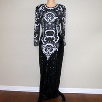 Vintage 80s Formal Dress Size 12 14 Sequin Dress 1980s Evening Dress Beaded Trophy Dress Black White Dress Long Sleeve Large Womens Clothing