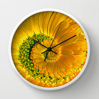 Yellow Gerbera Spiral Wall Clock by Karl Wilson Photography
