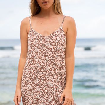 ACACIA Swimwear 2019 Vatu Silk Dress in Brown Batik