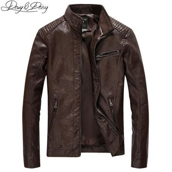 Trendy DAVYDAISY 2018 New Arrival PU Leather Jacket Men Autumn Stand Collar Zipper Fashion Men Coat Casual Dress Leather Jacket DCT-244 AT_94_13