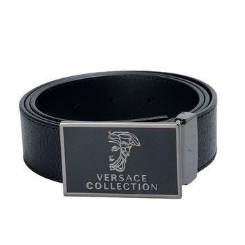 Versace Collection Men's Black Leather Buckle Decorated Belt