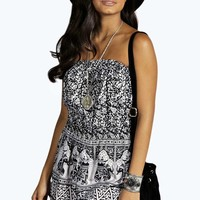Evelyn Bandeau Style Crepe Elephant Playsuit