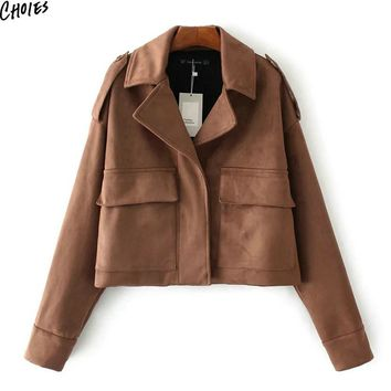 Brown Faux Suede Notch Lapel Pocket Fall Jacket Women Epaulet Long Sleeve Cuff With Button High Street New Autumn Coat